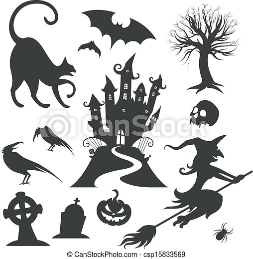 ensemble, halloween, vecteur, divers, éléments conception - csp15833569