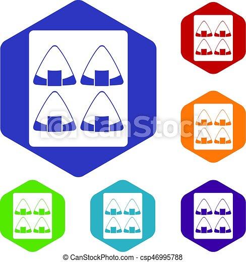 ensemble, hexagone, sushi, icônes - csp46995788