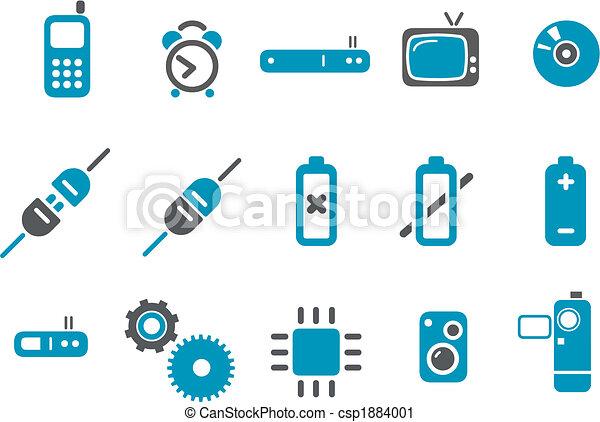 ensemble, icône, électronique - csp1884001