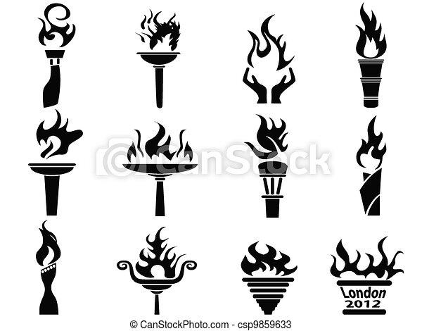Ensemble Icônes Brûler Torche Flamme Noir