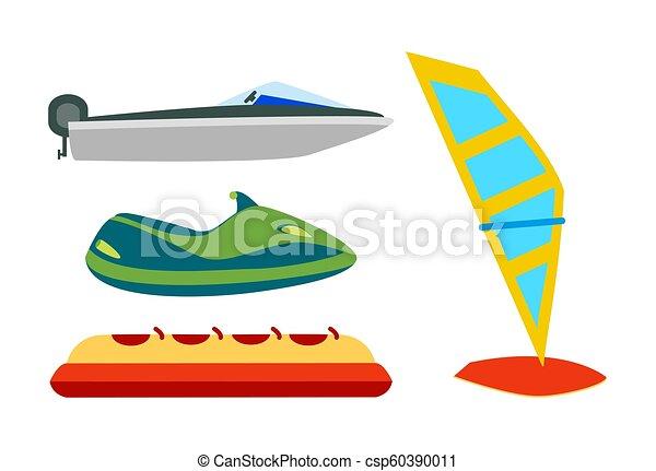 ensemble, icônes, eau, équipement, dessin animé, transport - csp60390011
