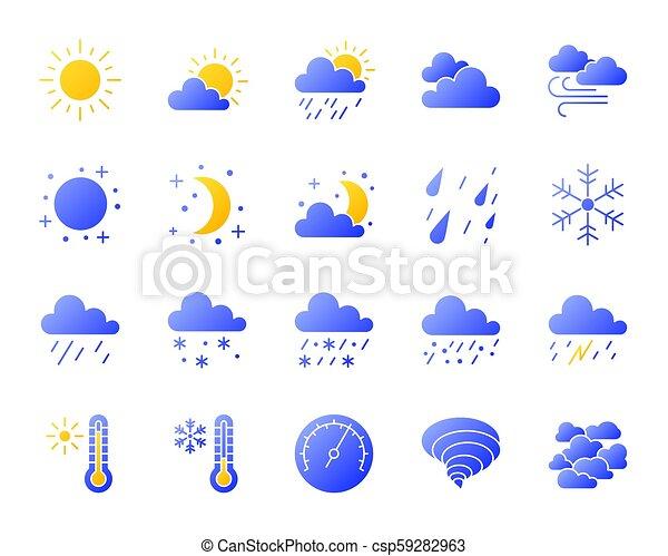 ensemble, icônes, simple, gradient, vecteur, temps - csp59282963