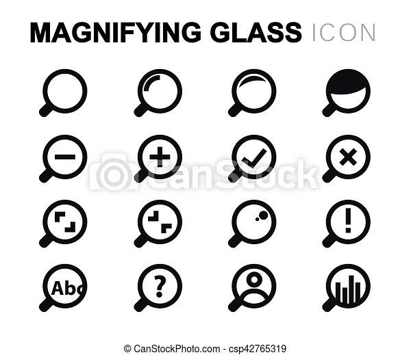 ensemble, icônes, verre, vecteur, ligne, magnifier - csp42765319