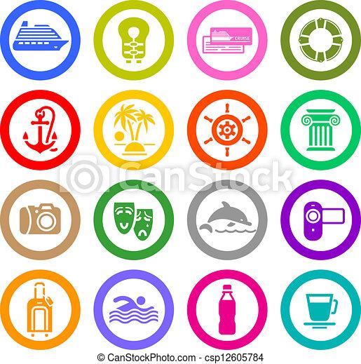 ensemble, &, icônes, voyage vacances, récréation - csp12605784