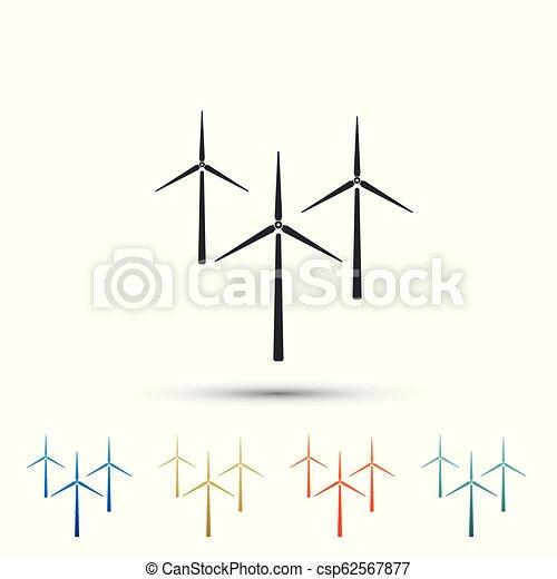 Ensemble Icons Turbine Design Eoliennes Generateur Isole Silhouette Arriere Plan Blanc Eolienne Plat Elements