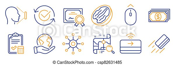 Ensemble, id., crédit, carte affaires, vecteur, tel, icônes, recherche, carte, figure. Haut ...