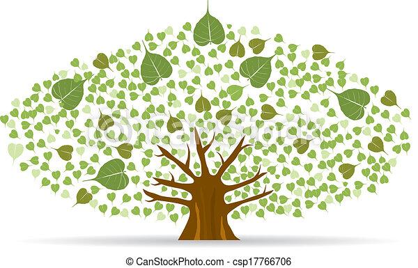 ensemble, illustration., arbre, bodhi, fig), vecteur, (sacred - csp17766706