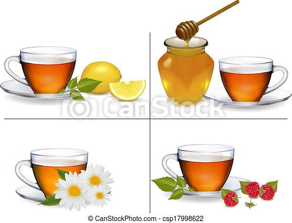 ensemble, illustration., arrière-plans, vecteur, tea., tasses - csp17998622