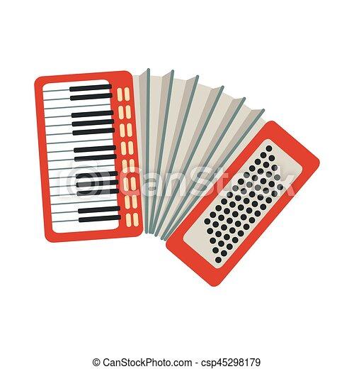 Ensemble Instruments Accordéon Isolé Musical Réaliste Vecteur Illustrations Partie Dessin Animé