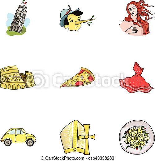 Bien connu Vecteur de ensemble, italie, icônes, pays, symbole, collection  OC91