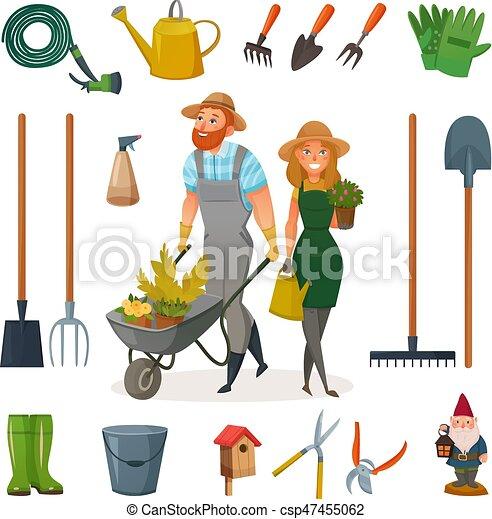 ensemble jardinage dessin anim ic ne vecteur l ments jardinage travail jardin. Black Bedroom Furniture Sets. Home Design Ideas
