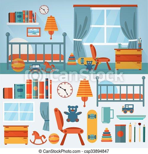 ensemble, jouets, chambre à coucher, intérieur, enfants, meubles - csp33894847