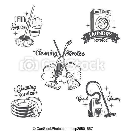 ensemble, logos, vendange, étiquettes, nettoyage, services, insignes - csp26501557