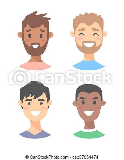 ensemble, mâle jeune, caractères - csp37054474