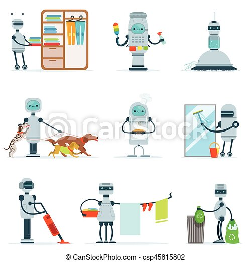 ensemble m nage serviteur m nage robot illustration clipart vectoriel rechercher. Black Bedroom Furniture Sets. Home Design Ideas