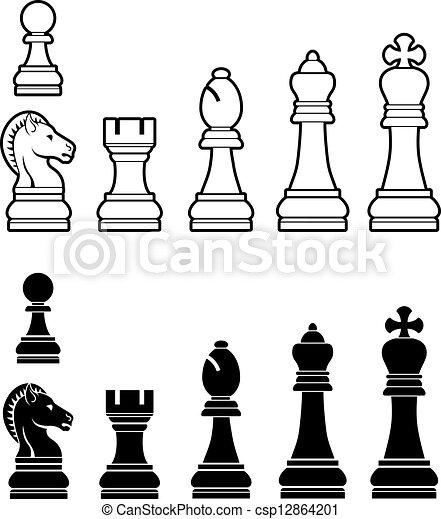 ensemble, morceaux échecs - csp12864201