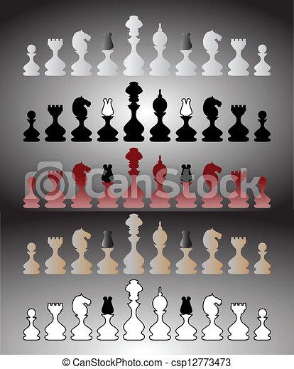 ensemble, morceaux échecs - csp12773473