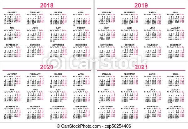 Calendrier 2018:2021 Ensemble, mur, grille, 2021, 2019, 2020, calendrier, 2018