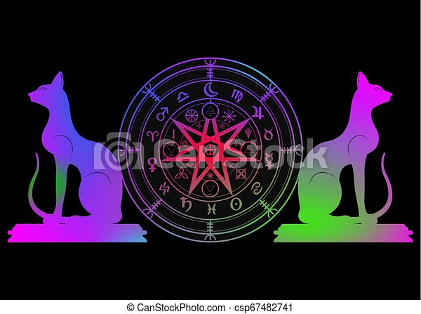 ensemble, mystique, année, la terre, mandala, signes, divination., symboles, ancien, coloré, runes, isolé, astrologique, roue, wicca, symbole, chats, occulte, wiccan, protection., vecteur, sorcières, zodiaque - csp67482741