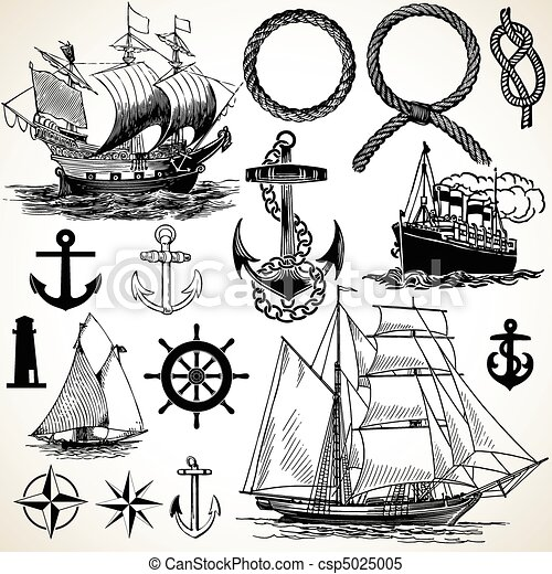 ensemble, nautique, icône - csp5025005