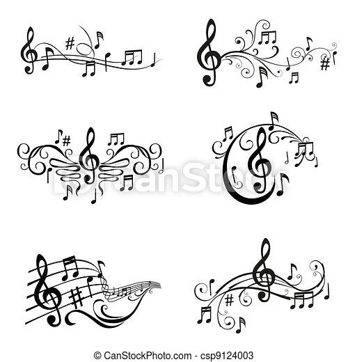 ensemble, notes, -, illustration, vecteur, musical - csp9124003