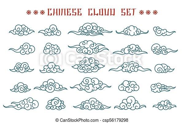 Ensemble Nuages Chinois Tatouage Croquis Elements Chinois