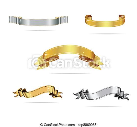 ensemble, or, couleur, créatif, rubans, argent - csp8869968