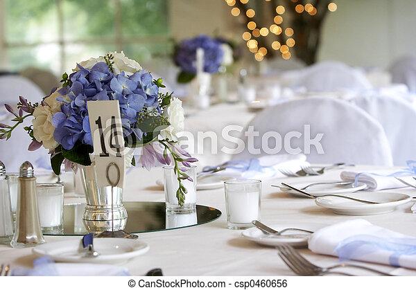 ensemble, ou, dîner, mariage, table, constitué, événement - csp0460656