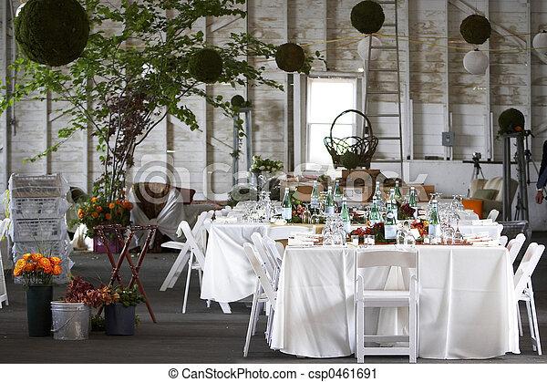 ensemble, ou, dîner, mariage, table, constitué, événement - csp0461691
