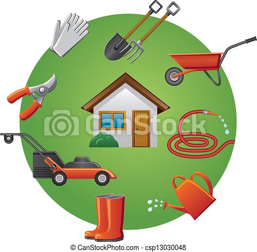 ensemble, outils, jardin, icône - csp13030048