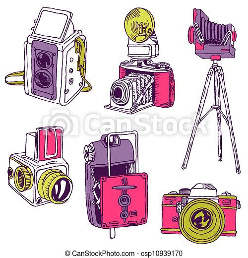 ensemble, photo, cameras, -, hand-drawn, vecteur, doodles - csp10939170