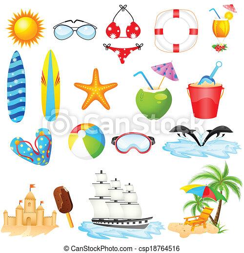 ensemble, plage, icône - csp18764516