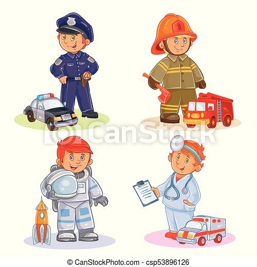ensemble, police, docteur, brûler, vecteur, astronaute, combattant, occupation - csp53896126