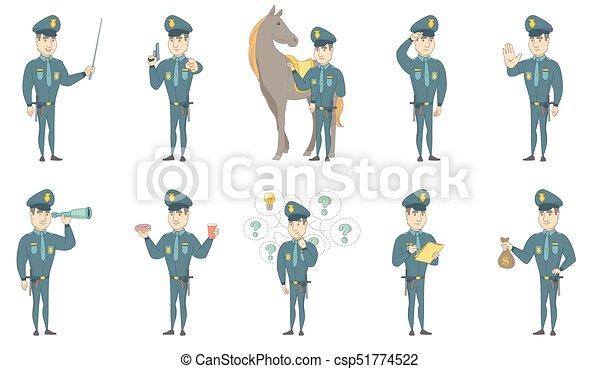 ensemble, policier, jeune, vecteur, illustrations, caucasien - csp51774522