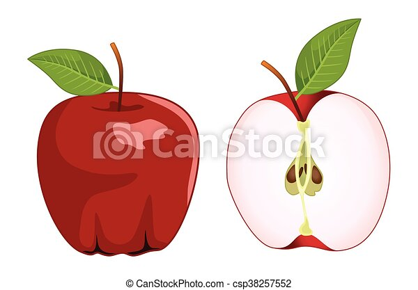 ensemble, pomme, vecteur, moitié, entier, rouges - csp38257552