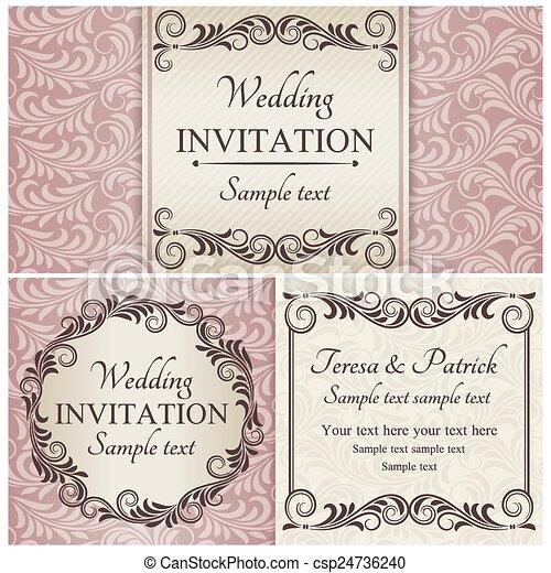 ensemble, rose, baroque, invitation mariage - csp24736240