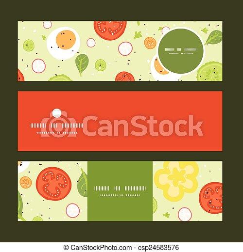 ensemble, salade, modèle, vecteur, fond, frais, bannières horizontales - csp24583576