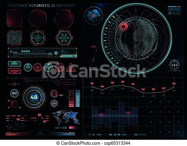 ensemble, sci, moderne, interface utilisateur, fi, futuriste - csp65313344