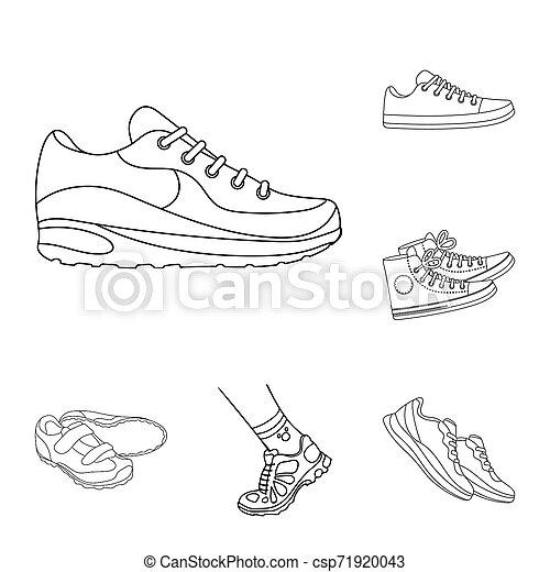 ensemble, signe., objet, web., isolé, chaussure, fitness, portez symbole, stockage - csp71920043