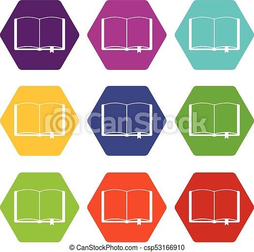 Ensemble Signet Hexahedron Couleur Livre Ouvert Icone