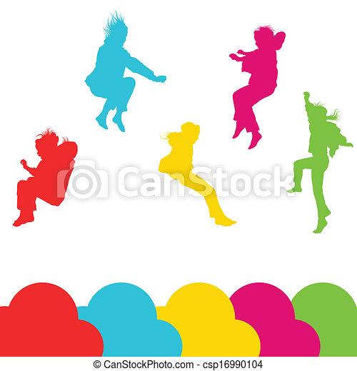 ensemble, silhouette, gosses, sauter, filles, vecteur, fond - csp16990104