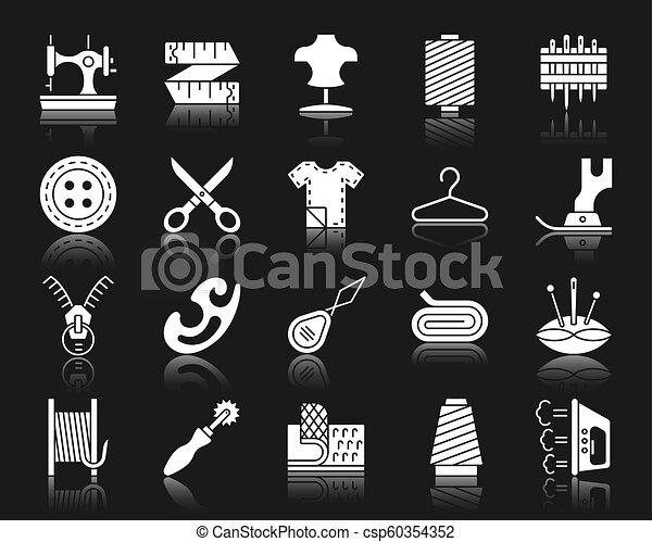 ensemble, silhouette, icônes, couture, vecteur, blanc - csp60354352