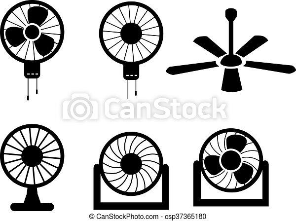 ensemble, silhouette, icônes, vecteur, ventilateur, style