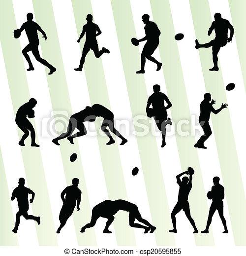 ensemble, silhouette, joueur, vecteur, fond, rugby, homme - csp20595855