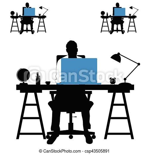 ensemble, silhouette, ordinateur portable, illustration, bureau, homme - csp43505891