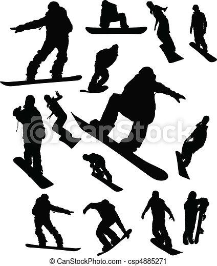 ensemble, silhouette, snowboarder, homme - csp4885271