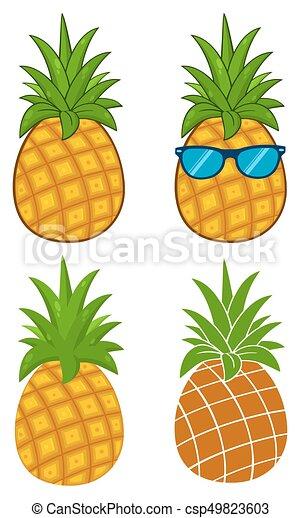 Ensemble Simple Série Collection Dessin Animé Fruit Vert Pousse Feuilles Ananas Conception Dessin 1