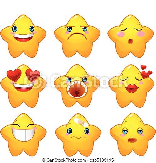 ensemble, smileys, étoiles - csp5193195