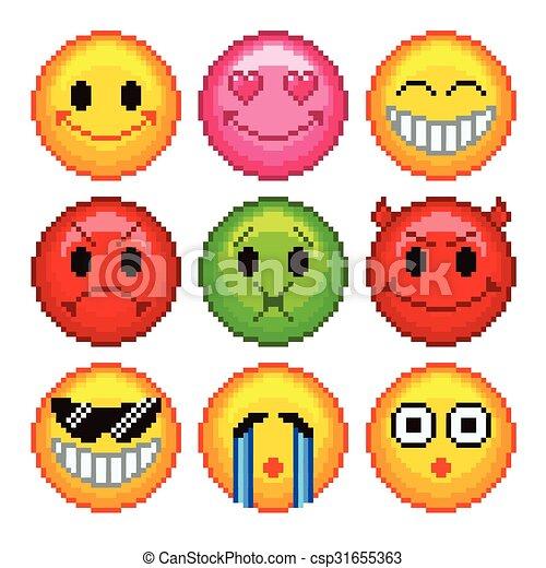 Ensemble Smileys Icônes Vecteur Jeux Pixel