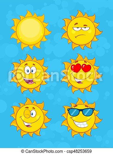 ensemble, soleil, caractère, collection, figure, jaune, emoji, dessin animé, 1. - csp48253659